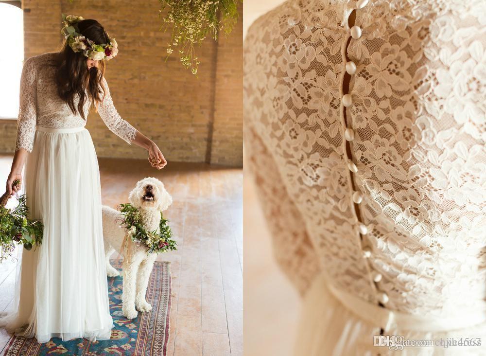 2020 New Custom Make Muslim Full length Cheap Plus Size Wedding Bridal Gowns Vintage Lace Long Sleeve Boho Beach Wedding Dresses