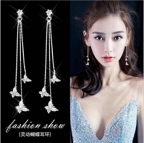 CK-3A 8 simple / Set 2019 Nueva moda pendientes pendientes largos de Corea Piezas de Alta Sensibilidad de las mujeres pendientes del oído Súper Hada red roja joyería