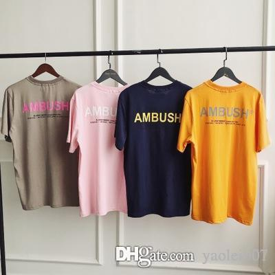 AMB marque T-shirt homme lettres occasionnels d'été AW T-shirt de mode marée slogan LOGO TEE hommes femmes couple modèles