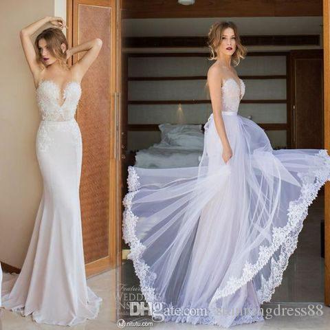 Элегантные русалки свадебные платья 2021 Детская юбка поезда Милая кружевная аппликация бисером разведка поезда свадебные свадебные платья дешево