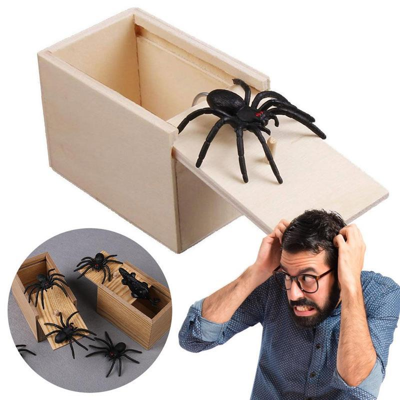 مضحك الخوف صندوق المزحة خشبية العنكبوت المخفية في حالة نوعية كبيرة المزحة-خشبية Scarebox اهتمام اللعب خدعة نكتة لعب هدية