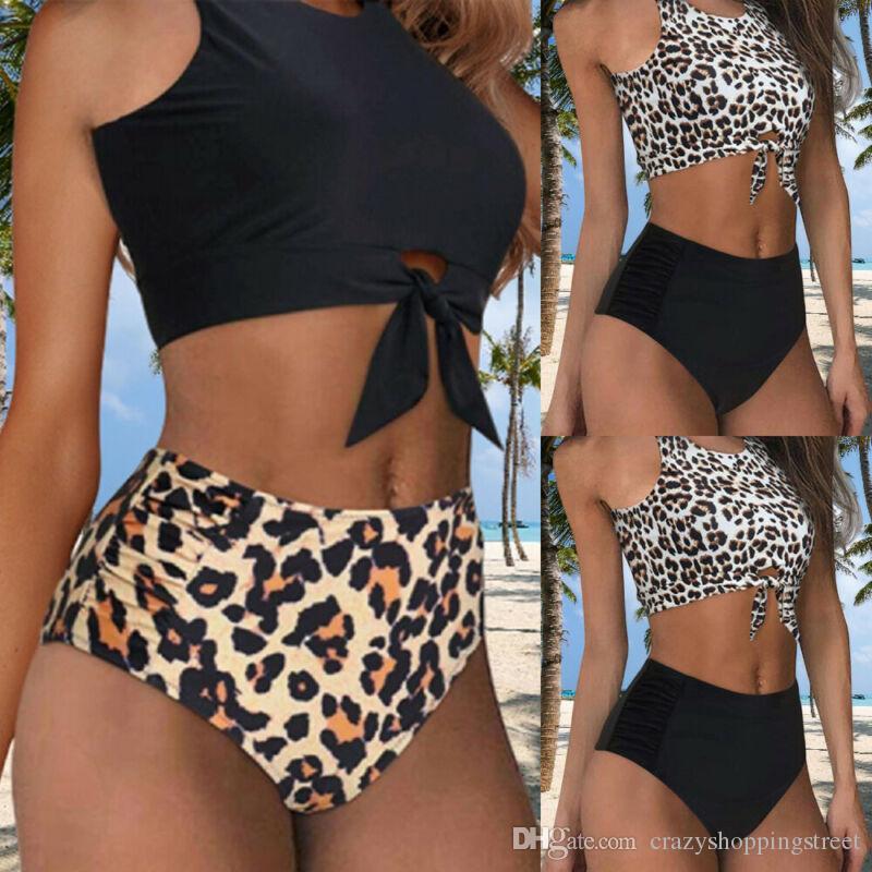 Femmes Push Up Bikini Set 2020 Nouvelle Arrivée Soutien-gorge rembourré Maillots de bain de vacances d'été Bandage maillot de bain vintage imprimé léopard maillot de bain