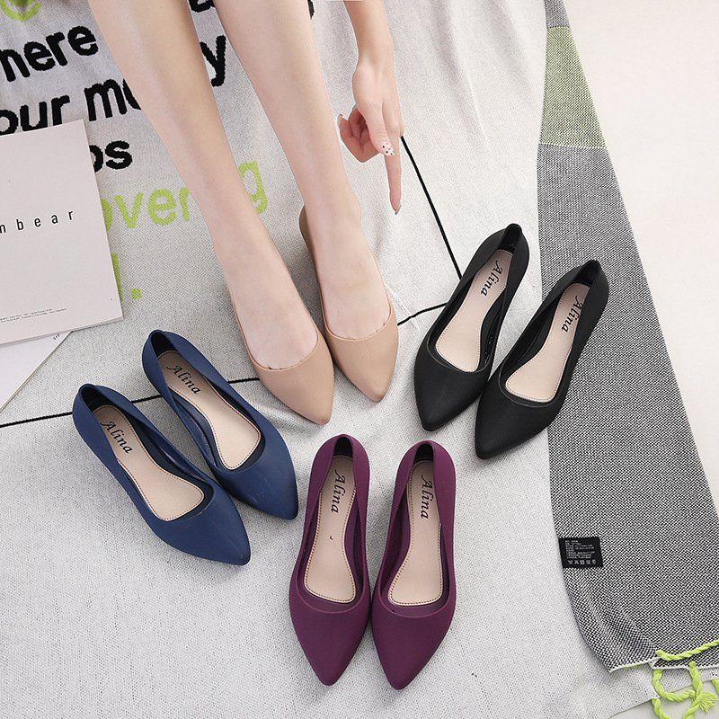 a chaussures pour femmes en plastique talon compensé semelle souple chaussures de travail confortables professionnels sandale au sol imperméable versatiles quatre saisons overs