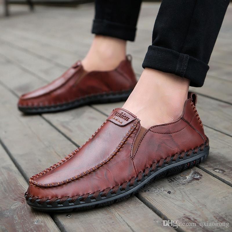 couro genuíno sapatos masculinos sapatos de camurça loafer oficiais dos homens gentis caminhada curso de sapatos casuais sapatos de conforto respiração por Homens de boa qualidade