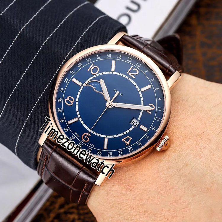 Nueva fase de la luna Patrimonio Miyota 8217 Mens automático del reloj de oro rosa Esfera Azul Relojes Piel Número Marcadores Stick Brown Timezonewatch E50a1