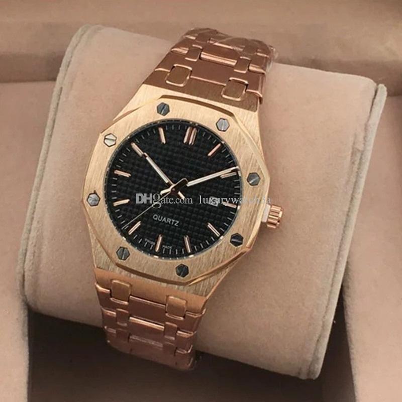 Sıcak Satış Marka Erkek Bilek izle Royal Oak Serisi Spor Saatleri İçin Erkekler Paslanmaz Çelik Altın İzle Quartz Saat orologio uomo