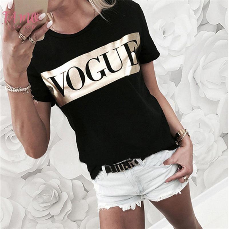 Les femmes Vogue Imprimer T-shirt 2019 Lettre Femmes Top été à manches courtes T-shirt Mode Lin Coton T-shirts de dames T-shirt