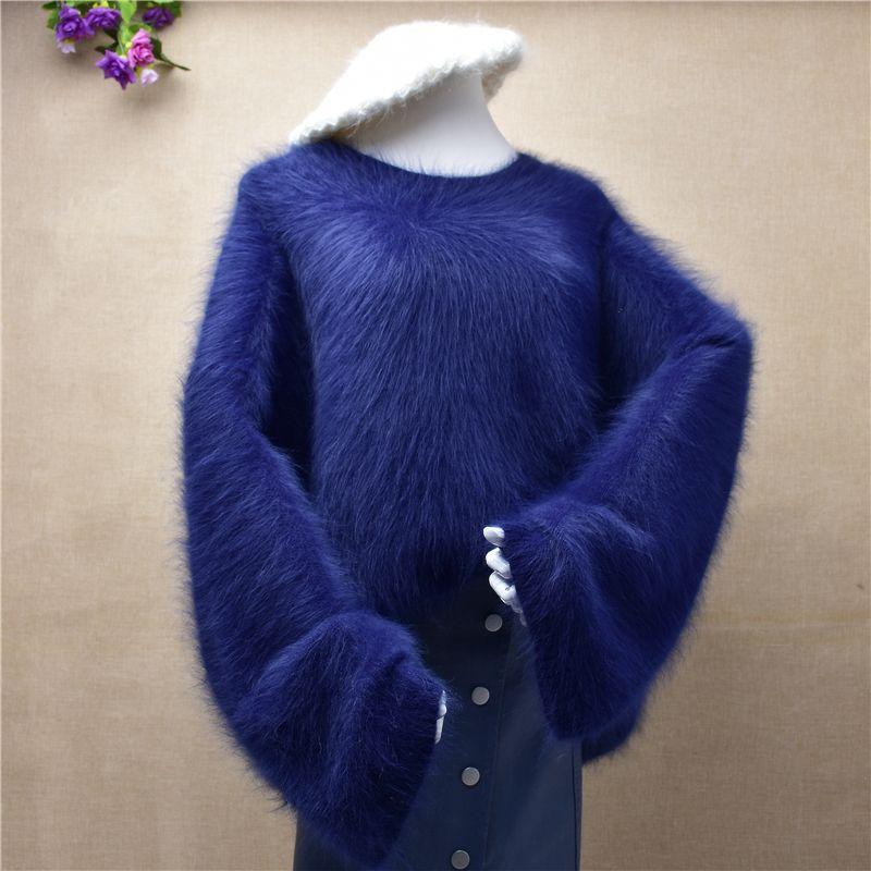 señora de mujeres peludas más el tamaño de la felpa de cachemira de visón o-cuello del suéter de angora de piel suelta de punto de invierno tocando fondo suéter blusas