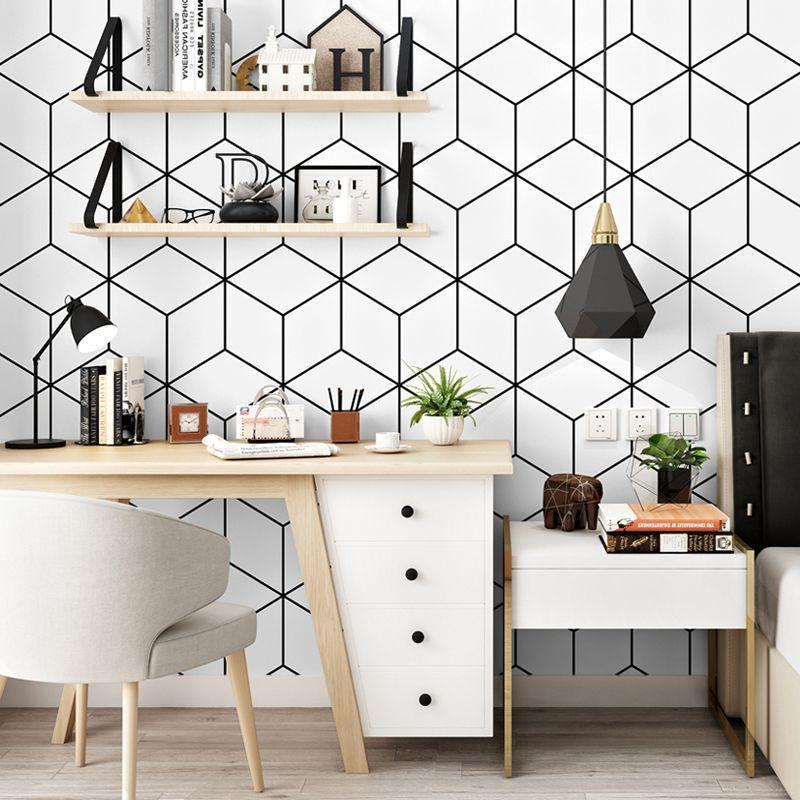 Бумаги Геометрические Решетки 3d Стены Noridc Черно-Белые Сетки Обои Рулон 3d Для Гостиной Фоне Росписи Papel Pintado