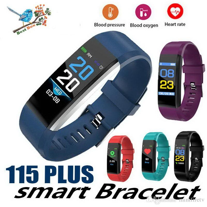 1 PCS cheap price LCD Screen ID115 Plus Smart Bracelet Fitness Tracker Pedometer Watch Band Heart Rate Blood for sports fashion