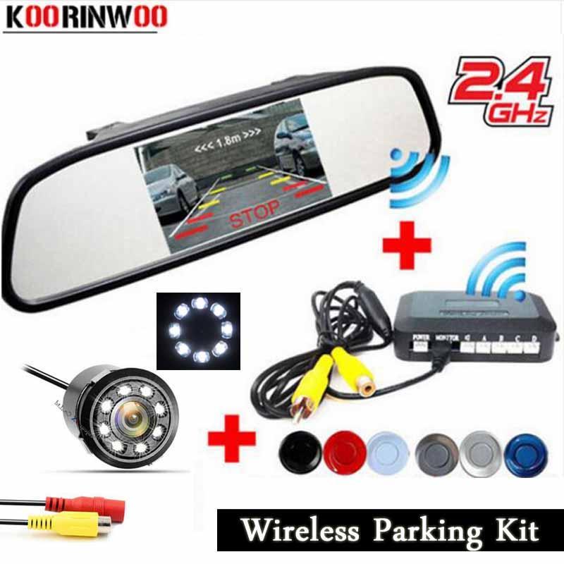 مواقف Koorinwoo 2.4G سيارة لاسلكي نظام الاستشعار رادارات فيديو عرض باركترونيك الخلفية مراقب مرآة سيارة كاميرا عكس النسخ الاحتياطي