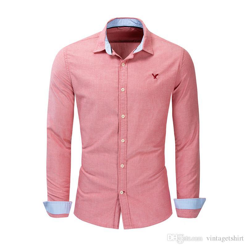 Les hommes occasionnels shirt Designer Aigle Broderie Décoration Homme Couleur Chemises roses Vêtements de printemps et d'automne Mode
