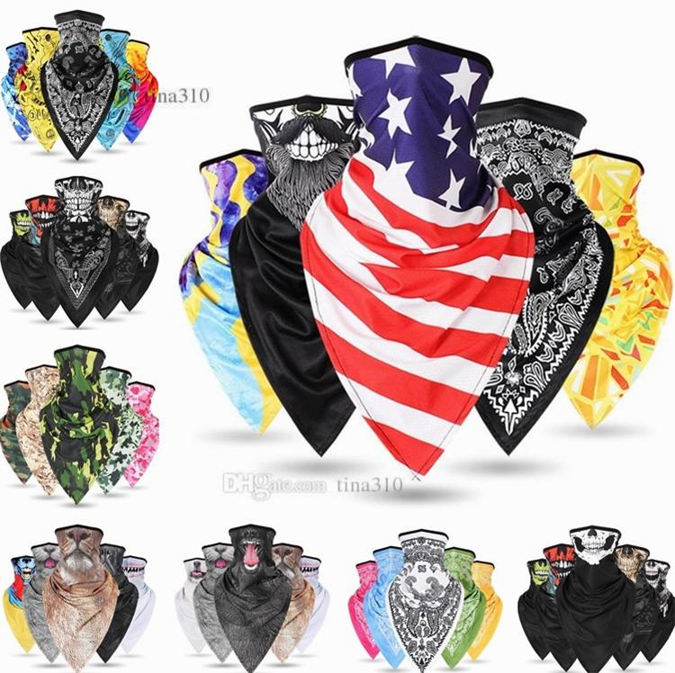 Trendy hip-hop maschere moda anacardi fiore hip-hop collare uomini e le donne del collo esterna che guida maschere triangolo sportive sciarpe mascherine del partito 4682