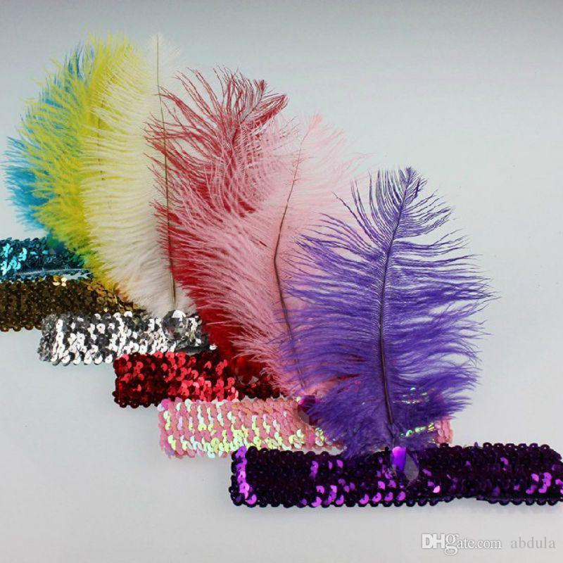 100pcs Ostrich Feather Headhand Fast Shipping Carnaval partido Home 1920 Flapper Lantejoula Charleston Costume Ostrich Feather Headband DHL