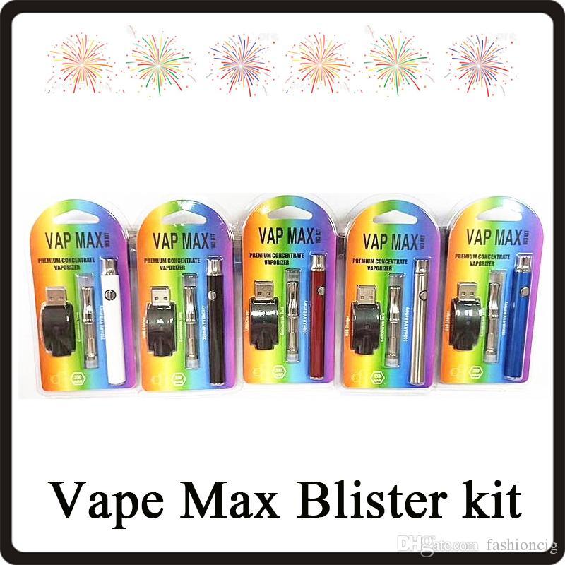 Kit di alta qualità Vape Max con batteria 350 mAh Funzione di preriscaldamento 92A3 Caricatore wireless per anatomia 5 colori Kit blister DHL