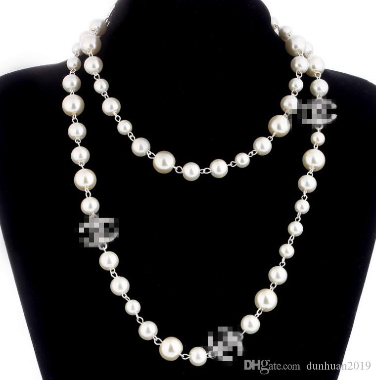 2019 women hot Agood high quality imitation pearl long necklaces for women elegant party jewelry double layer necklace