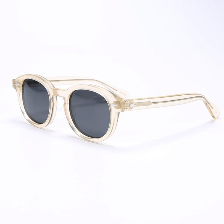 الجملة hotsale جوني ديب حافة شفافة والأصفر نظارات HD UV400 عدسة ملون للجنسين L M S أحجام معبد 7teeth fullset التعبئة رخيصة