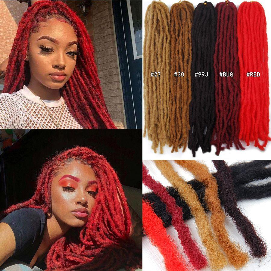 18 inch 24 strands/piece dreadlock faux locs crochet hair braid bob marley synthetic braiding hair extension janet collection dread locs