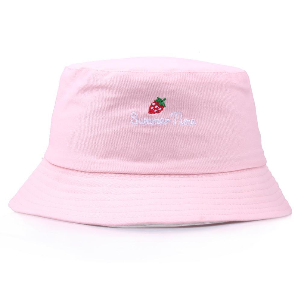 Панама Клубничный Bucket Hat Мужчины Женщины Лето ананаса хлопок Banana вышивка Боб Cap Hip Hop Gorros Рыбалка Рыбак Hat