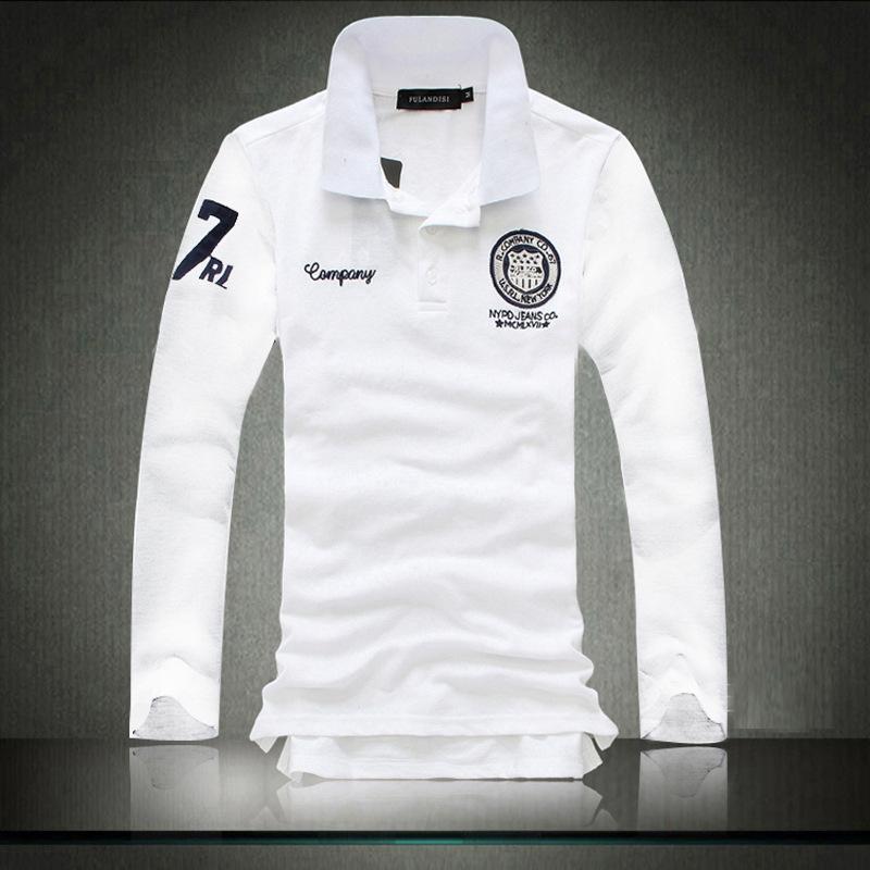 Polo T-shirt versione coreana dei nuovi uomini di Spot di casual britannico a maniche lunghe T-shirt degli uomini sottili