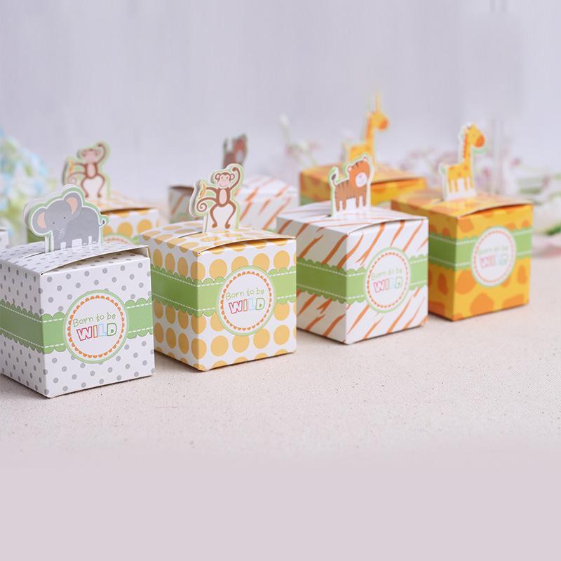50pcs / lot contenitore di caramella animale di buon compleanno del bambino sveglio regalo creativo della scatola di carta della caramella dei bambini della scimmia / Elephaniger / Giraffe