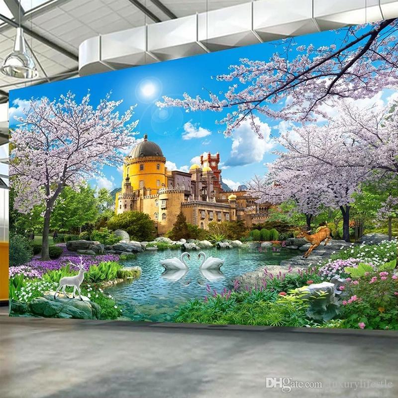 Dropship personalizado Mural Castelo Cherry Blossom Tree Nature Recados Paisagem 3D Pintura Sala Quarto Photo Wallpaper Home Decor