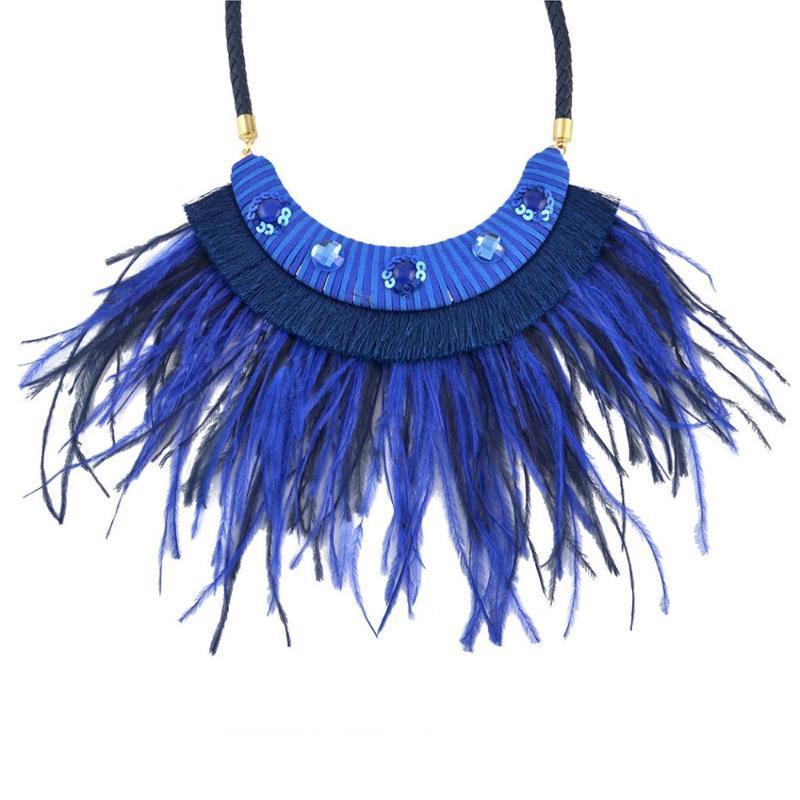 Bohemian Boho Chic Hipe Feather Tassel Pendant Bib Statement Necklace Glass Crystal Collar Choker Necklace Leather Chain Women
