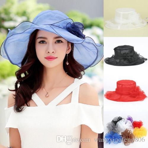 Women Ladies Summer Wide Brim Organza Hat Floppy Derby Beach Sun Foldable Cap