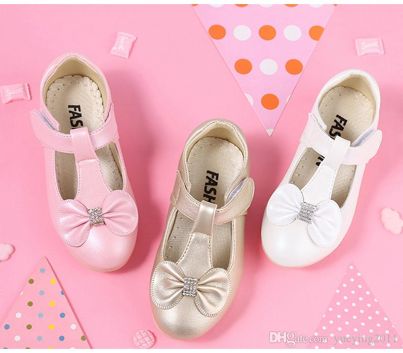Children's Flat Shoes White Pink Kids Flower Little Girl Children Dress Princess Leather Shoes For Girls School Dance Party And Wedding Shoe