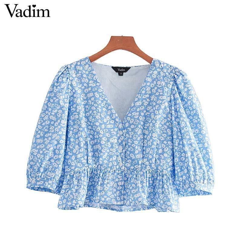 Vadim Women's Cute Floral Print Crop Top Sexy V Neck Key Plissee Short Shirt Casual Women's Nice Tops Da414 Y19071201