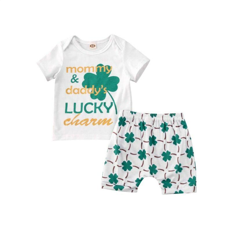 Newborn Kids Baby Boy Summer Short Sleeve Letter Tops T-shirt Shorts Pants 2Pcs Outfits Clothes