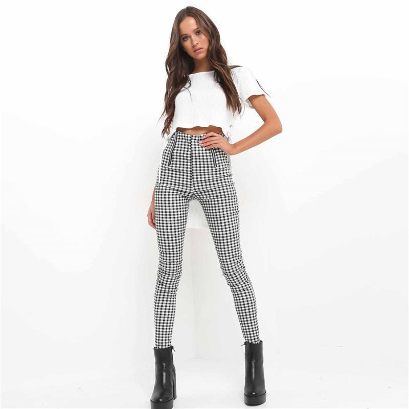 2019 caliente simple pantalón lateral raya a pantalones elásticos casual chándal de algodón cómoda de la manera mujeres de los pantalones de tela escocesa