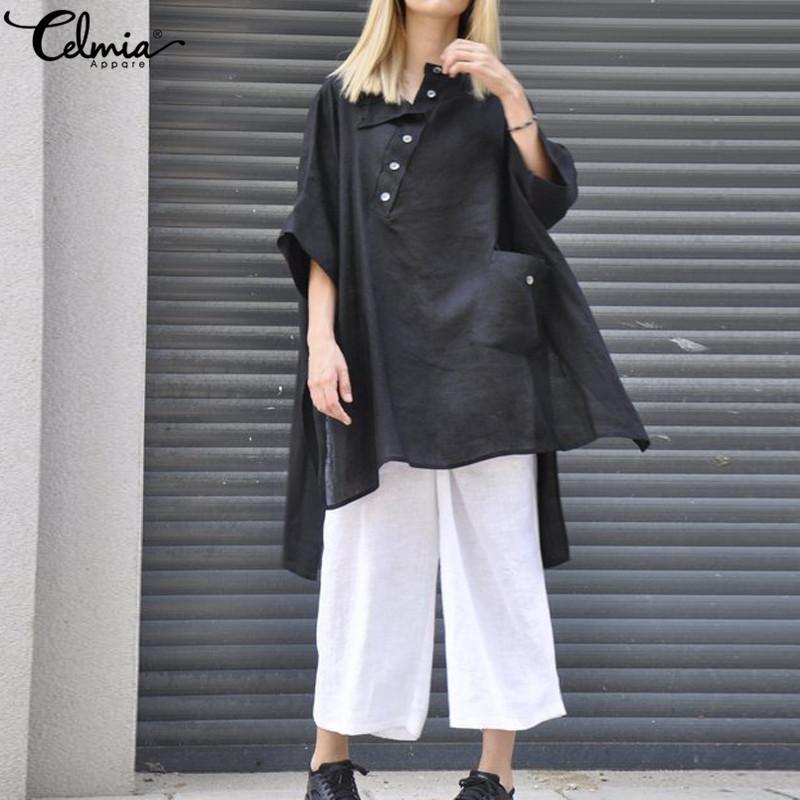 Celmia Mujeres Vintage Lino Tops 2019 Blusas de verano Botones flojos ocasionales del dobladillo asimétrico sólido Blusas largas más el tamaño 5xl Y190510