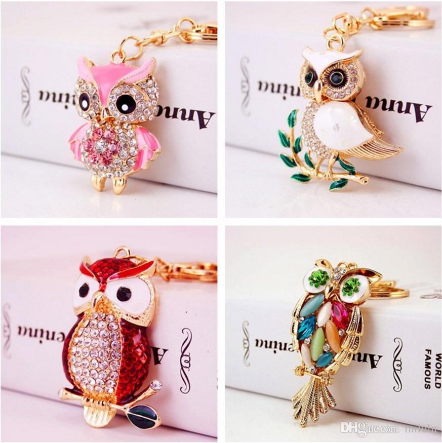 anahtarlık araba Anahtarlık kadınlar çanta aksesuarları hayvan metal anahtarlık kolye baykuş Yaratıcı sevimli karikatür elmas