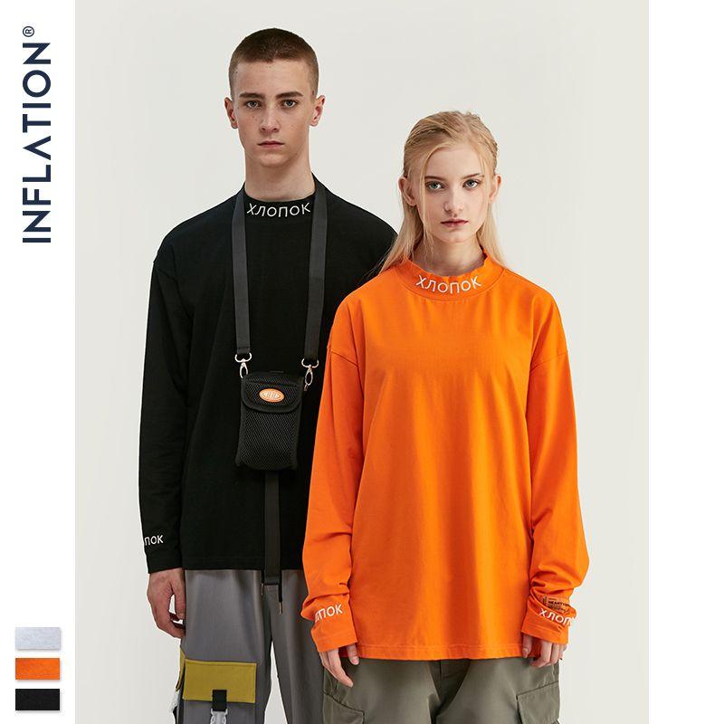 INFLATION Long Sleeve T-shirt Streetwear Stand Collar Retro T-shirt Pullover Men Women Hip Hop Orange Emboridery Tshirt 8702W V200327