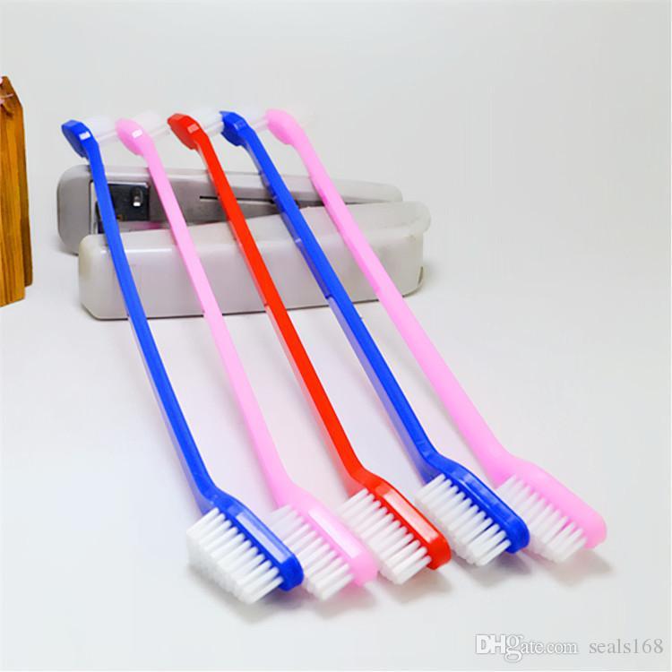 فرشاة أسنان للقطط الأليفة لفرشاة أسنان للقطط ذات الرأس المزدوج من أجل اللوازم الصحية ، حزمة التجزئة الملونة عشوائيا Dhl SHip HH7-1877