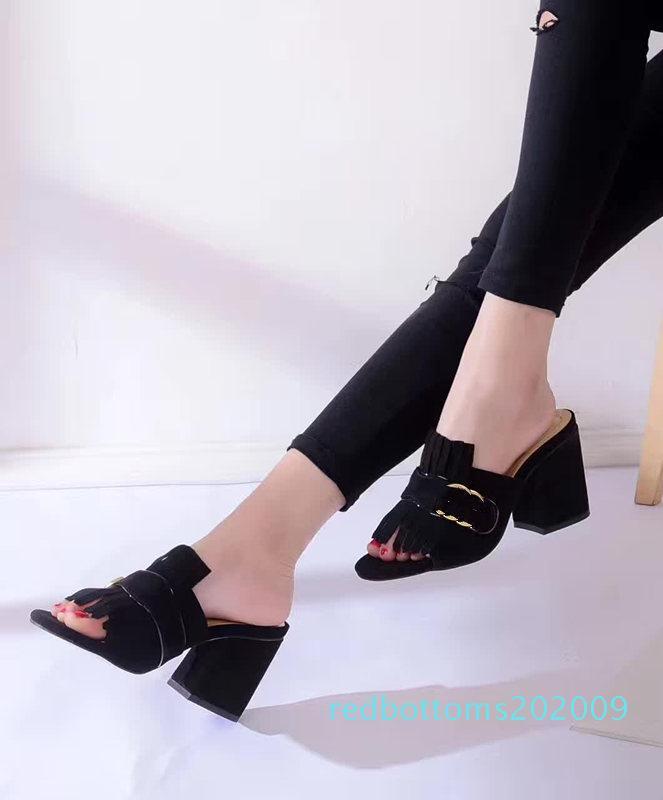 Calientes mujeres vendedoras Venta caliente gruesa sandalias del talón de los zapatos de señora de la oficina casuales sandalias inferiores gruesas verde talones cortos niñas de la moda negro zapatos r09