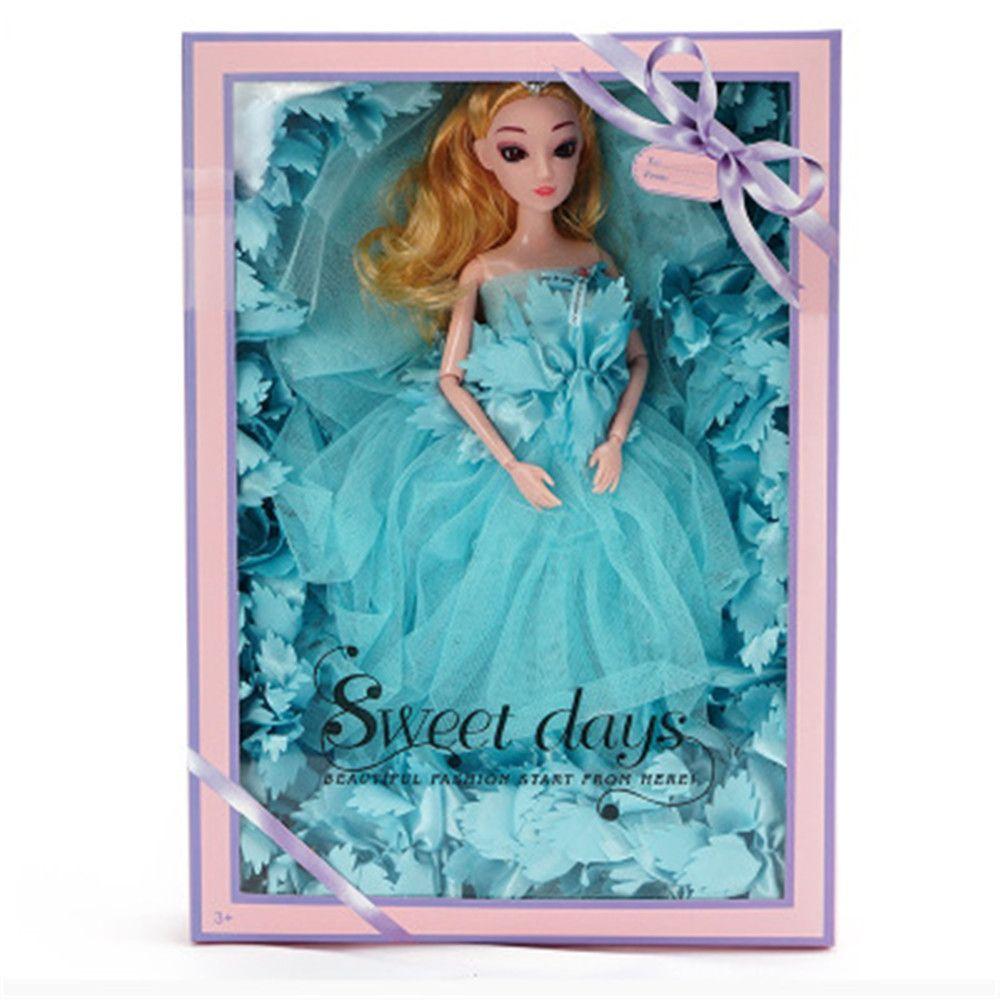 Robe de mariée Mode Poupée Kid Jouet de vacances Art Danse cadeau Princesse Coffret cadeau Boîte Sourire Barbie Girl Doll Girl Model Couleur Vert