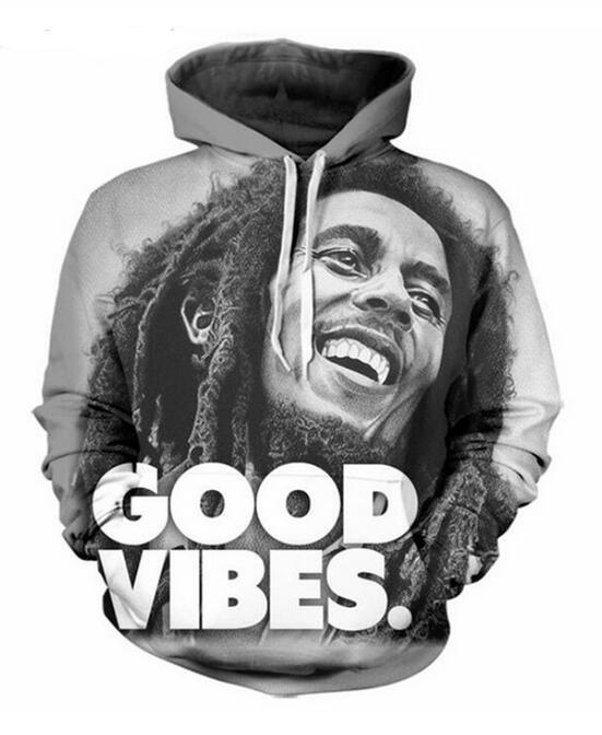 Nuevo llega el estilo de Hip Hop Bob Marley 3D Print Hombres Mujeres Hoodies de la manera envío RG074