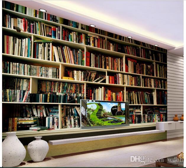 WDBH 3d quarto papel de parede personalizado foto Interior estante minimalista retro moderna decoração sala 3d murais de parede papel de parede para paredes 3 d