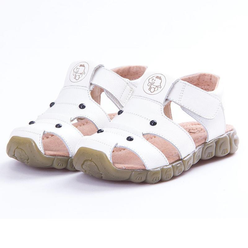 2020 Nouveau Sandales véritable enfants en cuir souple d'été Plage confortable Sandales pour Garçons Filles Bébé Anti-Slip Chaussures enfant Sandały Y200623