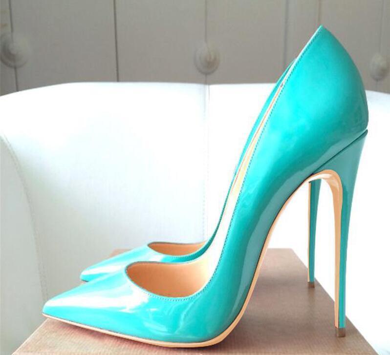 Sıcak Satış-Kadınlar Kırmızı Alt Yüksek Topuklar Ayakkabı Siyah Çıplak Sivri Burun Bayan Ayakkabı Rugan Bayan Stiletto Pigalle Gelin Ayakkabı