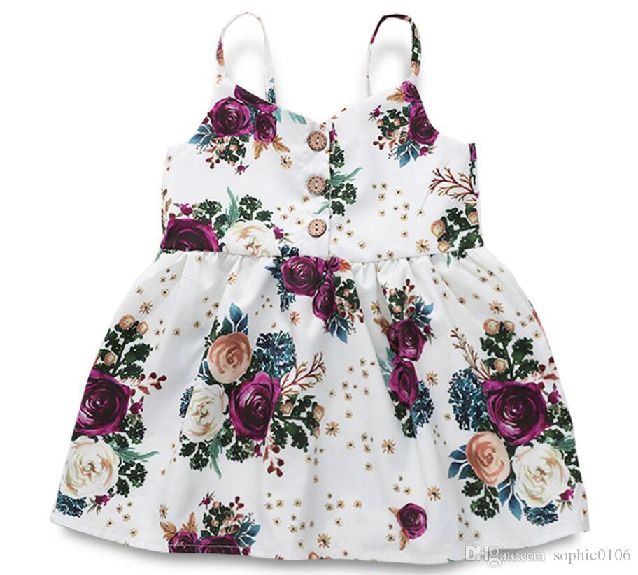 Girl Floral Print Fly Suspender Skirt Baby Infant Dress Kids Clothes One Piece Clothing ZHT 159