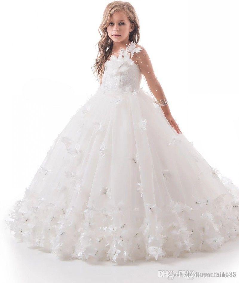 Принцесса бальное платье девушки цветка платья для венчания Jewel шеи аппликаций Девушки Pageant платья Sweep Поезд Дети Birthday Party Dress