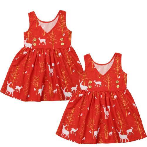 Рождество Новый Лось печати новорожденных девочек одежда Принцесса платье цветок платье одежда