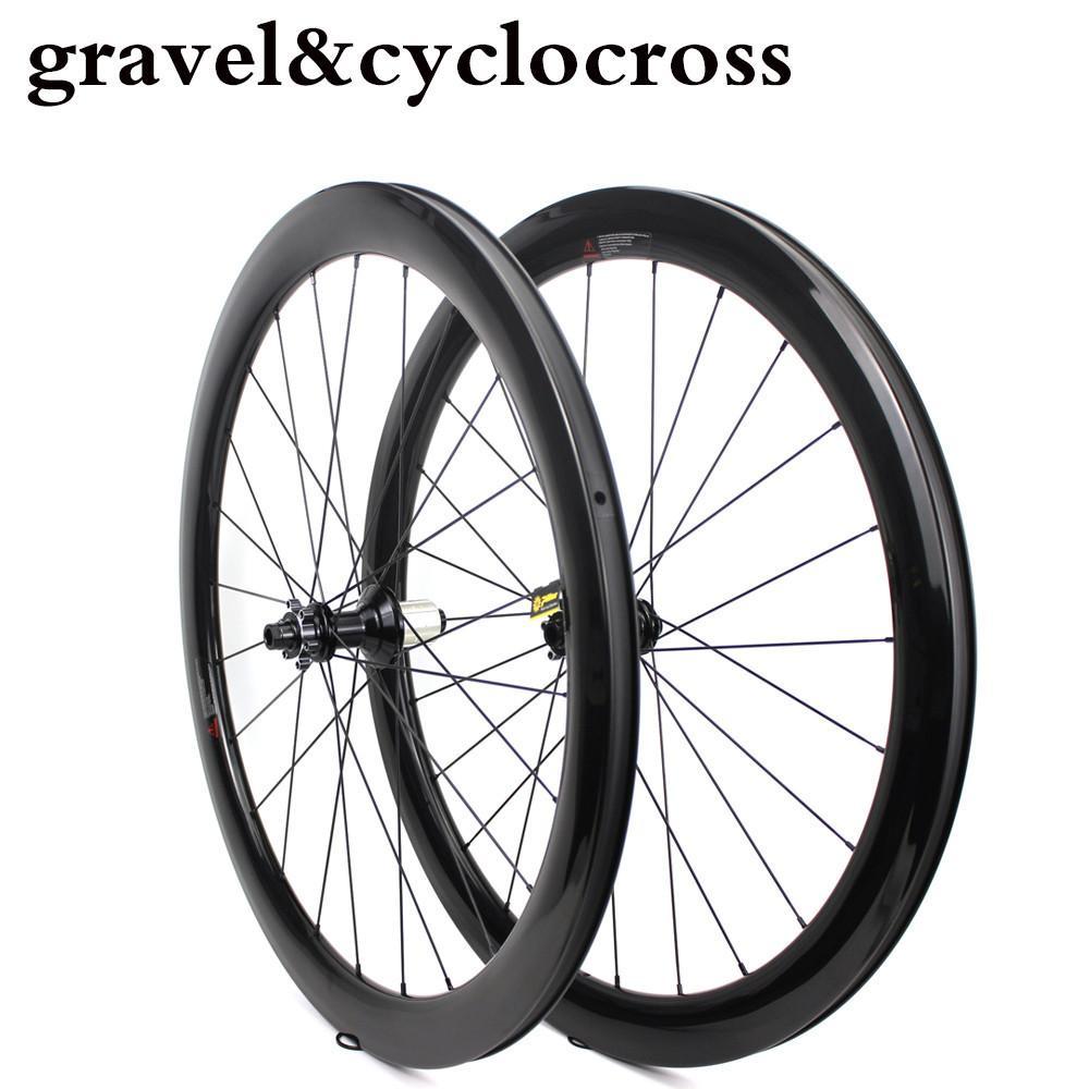 2019 Nova Roda Ciclocross 700C 27mm de largura de Carbono Estrada Rim Da Bicicleta Com Taiwan Powerway 6 parafuso orr Centro de Bloqueio Hub CX32 Cascalho Da Bicicleta Wheelset