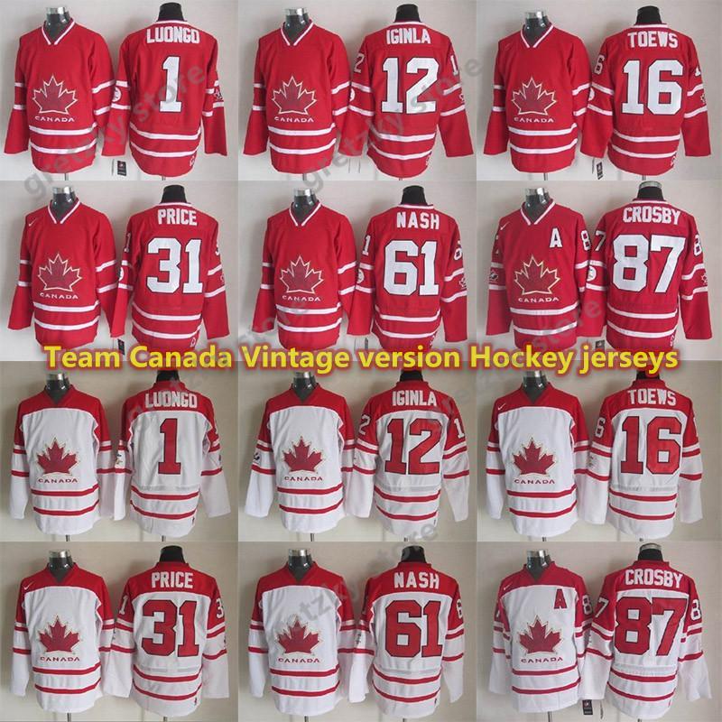 Team Canada Vintage version jerseys 87 CROSBY 16 TOEWS 31 PRICE 61 NASH 12 IGINLA 1 LUONGO CCM Hockey jersey