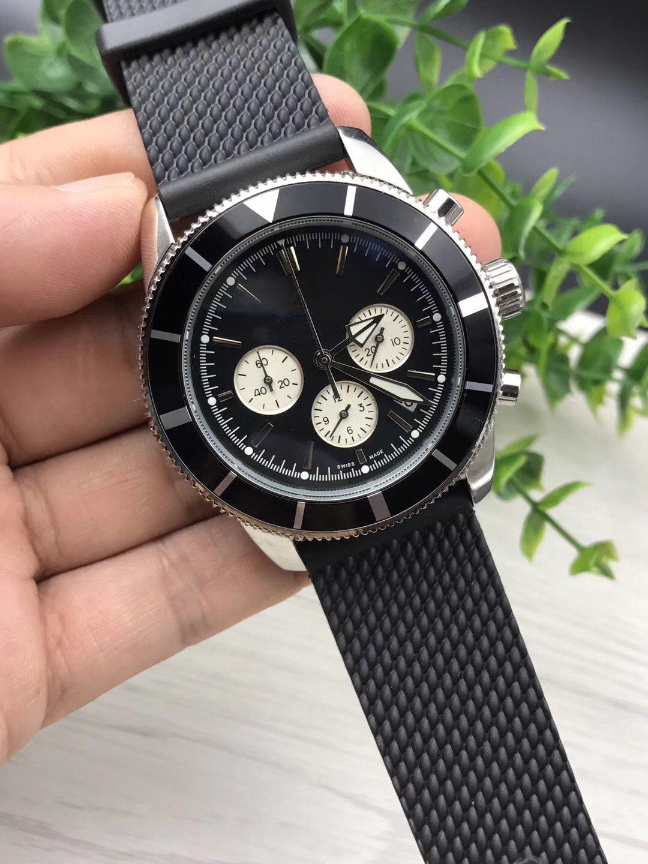 뜨거운 판매 높은 quaity 남자 시계 스틸 시계 석영 스톱워치 남성 시계 스테인리스 시계 크로노 그래프 손목 시계 (235)