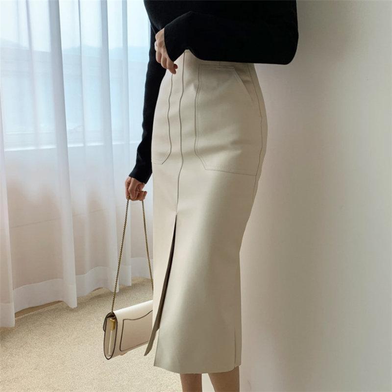 Skirts HziriP Women 2021 Autumn Spring High Waist Office Ladies Pencil Solid Sexy Formal PU Leather Elegant Long Skirt