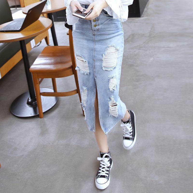 NORMOV Fashion Denim Jupes moulante Femmes simple boutonnage trou Vintage Ripped Jeans Jupes Sexy taille haute Fractionnement